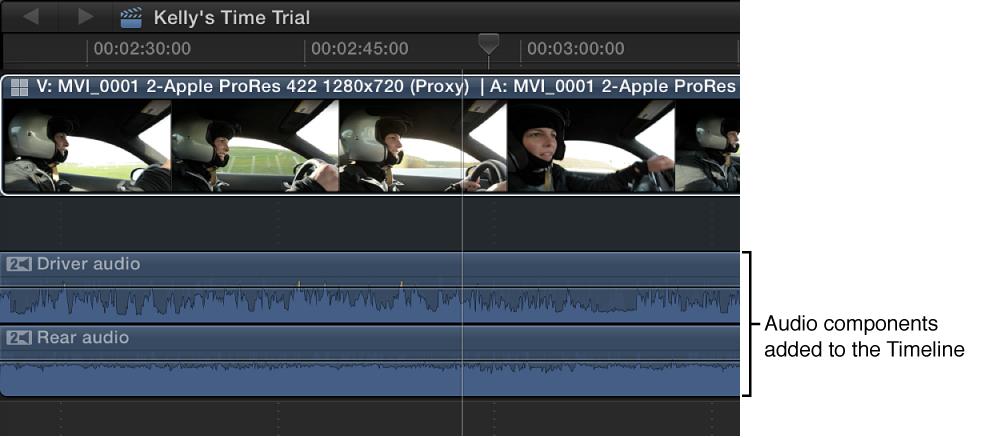 显示在时间线中已添加的音频组件,其视图已展开