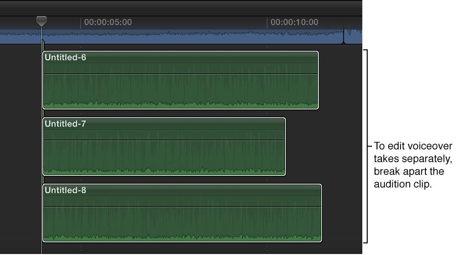 画外音试演片段被分开为单独的片段