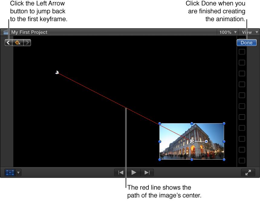 """显示""""变换""""效果的检视器,其中设定了两个关键帧,关键帧之间有用于表示图像路径的红线"""