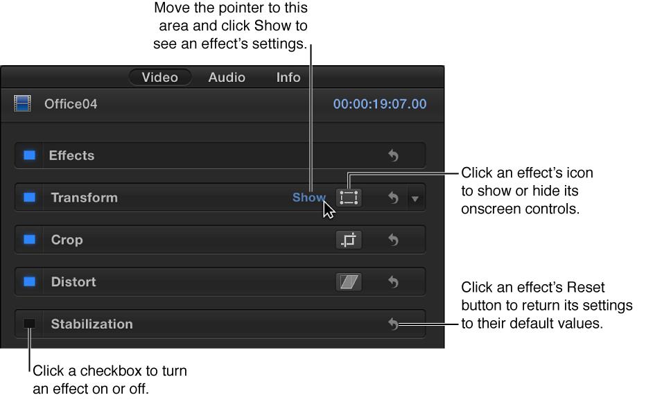 """显示效果控制的""""视频""""检查器"""
