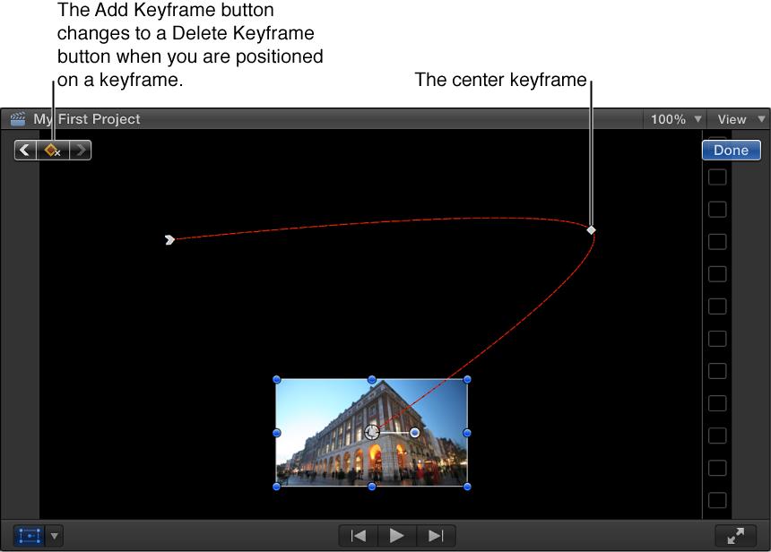 """显示""""变换""""效果的检视器,其中设定了三个关键帧,关键帧之间有用于表示图像路径的红线"""
