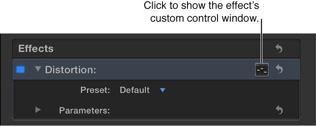 """""""音频""""检查器的""""效果""""部分,显示用于访问附加控制的""""控制""""按钮"""