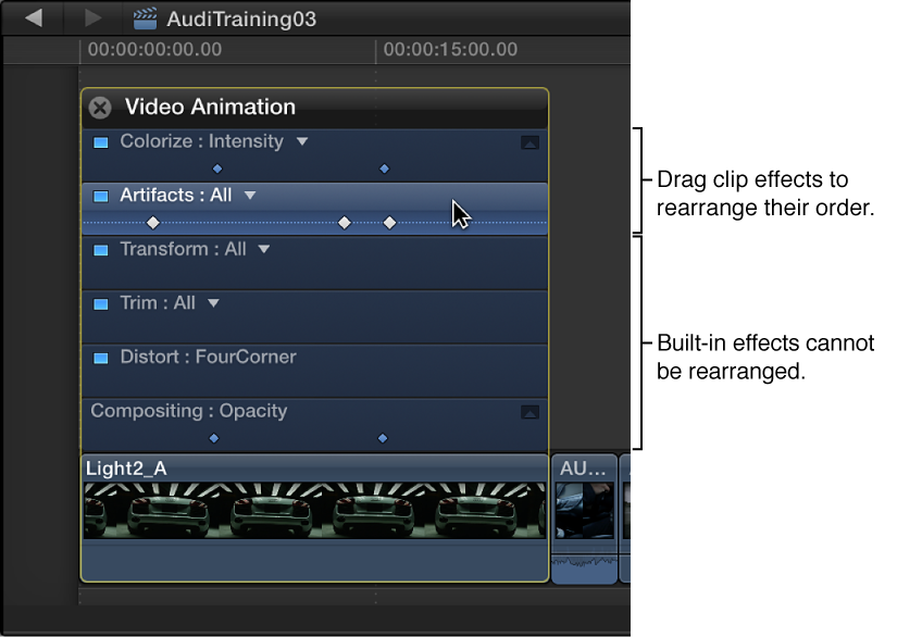 将视频动画编辑器中的效果拖到新位置
