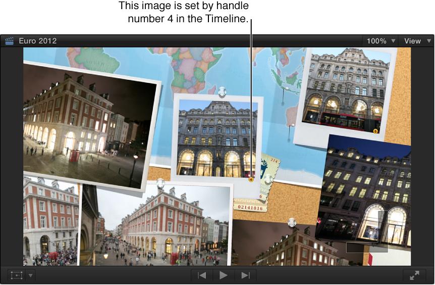 显示含编号静止图像的转场的检视器