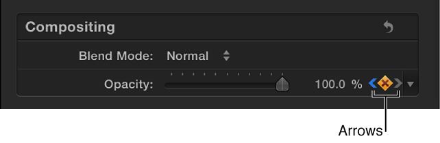 """""""视频""""检查器中""""关键帧""""按钮旁边的下一个和上一个箭头"""