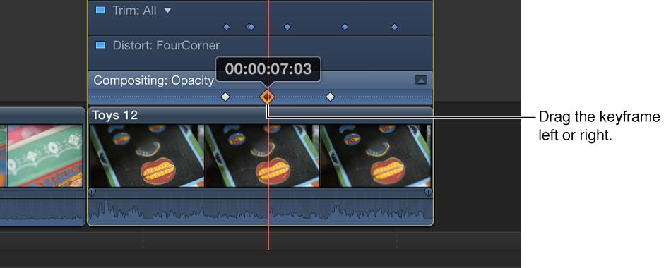 将关键帧拖到视频动画编辑器中