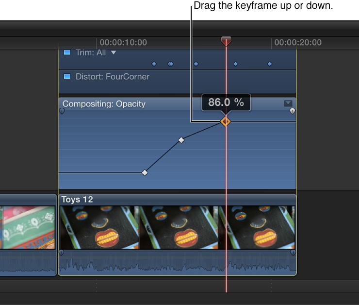 将关键帧拖到视频动画编辑器中来更改参数值