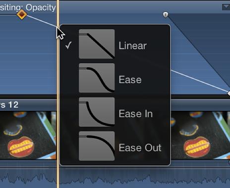 视频动画编辑器的快捷菜单中的曲线形状选项