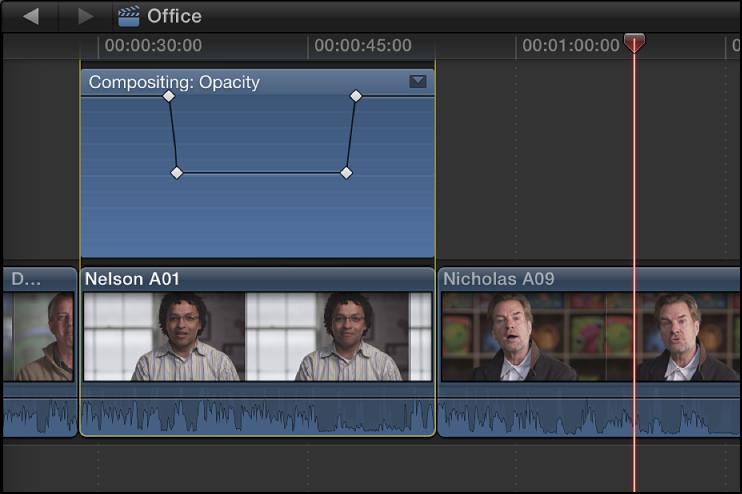 显示添加到视频动画编辑器的关键帧