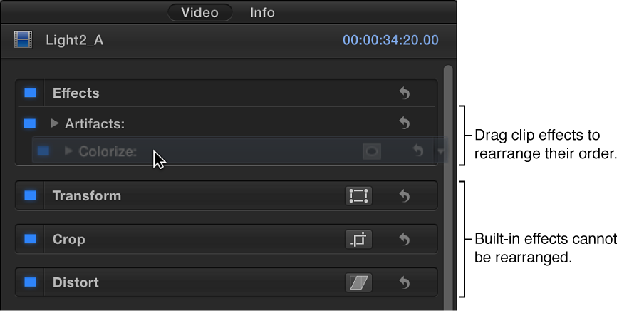 """将""""视频""""检查器中的效果拖到新位置"""