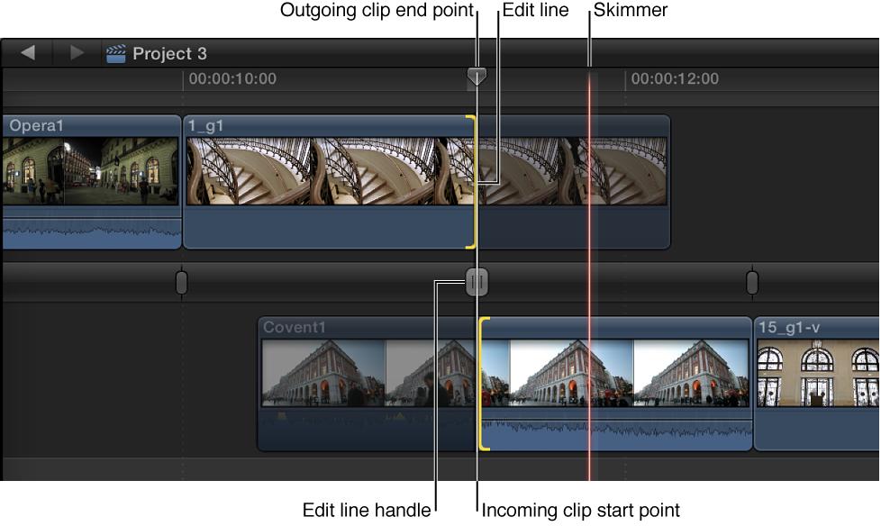 在时间线中打开的精确度编辑器,显示用于调整编辑点的控制柄