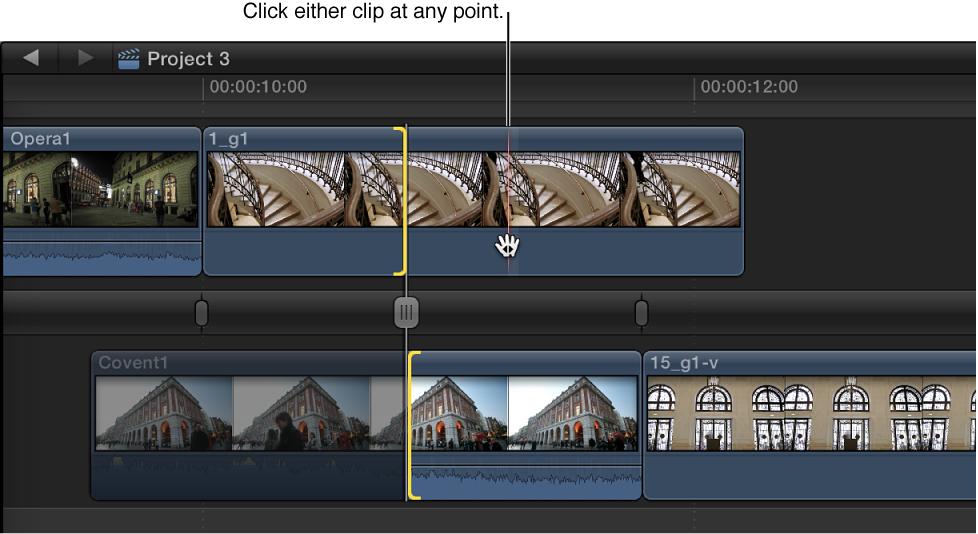 点按精确度编辑器顶部的出片段