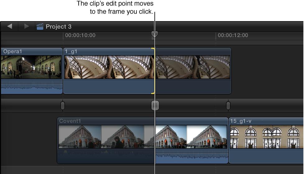 在点按的帧处显示的出片段结束点