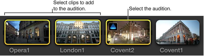 在浏览器中选定的两个片段和试演