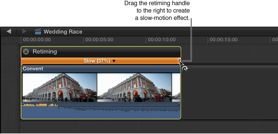 时间线中片段上方的重新定时编辑器,通过向左拖移重新定时控制柄来创建慢动作,所选部分上方的彩条显示为橙色