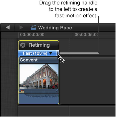 时间线中片段上方的重新定时编辑器,通过向右拖移重新定时控制柄来创建快动作,所选部分上方的彩条显示为蓝色