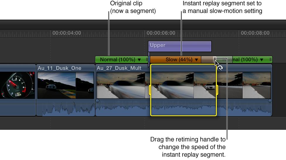 显示通过拖移片段的即时重放部分的重新定时控制柄来调整速度的时间线