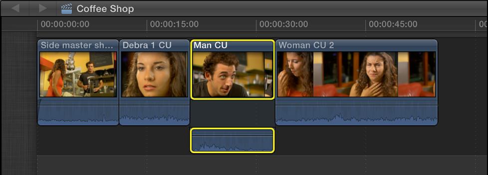 在时间线的片段中分离的视频和音频
