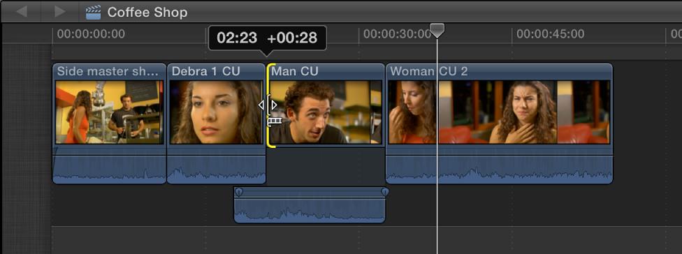 视频开始点被移到右边,导致了片段的音频部分与上一个片段的音频重叠