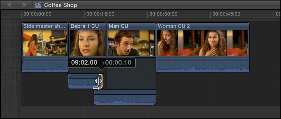 上一个片段的音频结束点被拖回,使音频在时间线中不再重叠