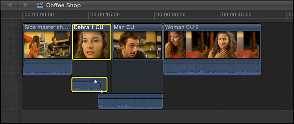 渐变被添加到上一个片段的音频的结尾