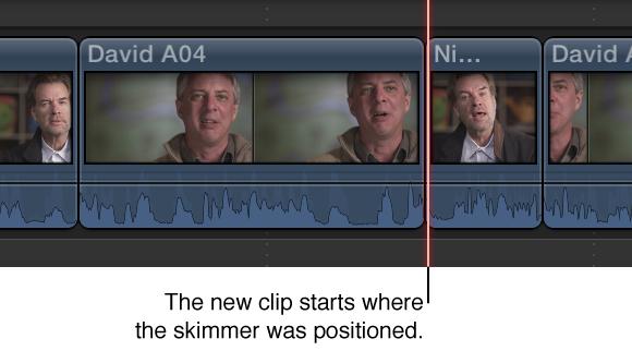 显示添加到时间线的新片段,其开始点位于浏览条位置