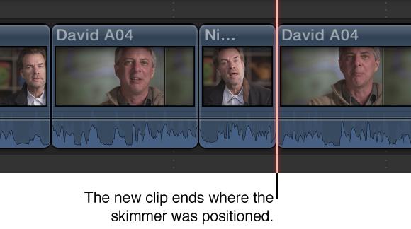 显示添加到时间线的新片段,其结束点位于浏览条位置