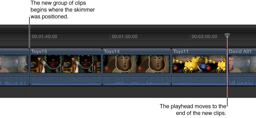 浏览器中的三个片段被添加到从浏览条位置开始的时间线中