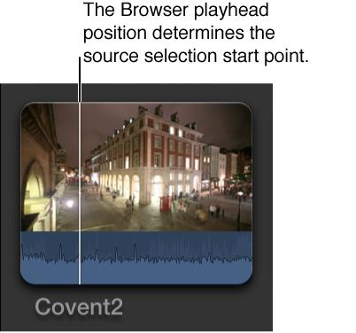 放置在浏览器中片段上的播放头