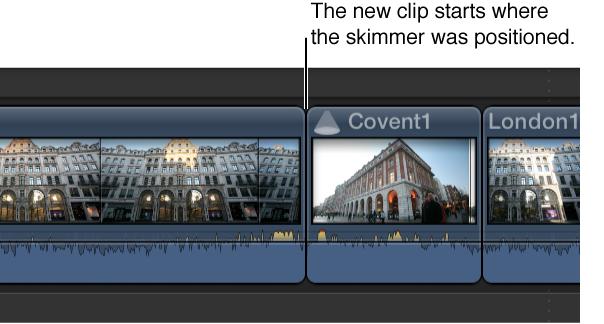 浏览器片段被添加到从浏览条位置开始的时间线中