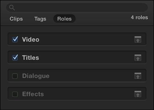 """时间线索引顶部的""""角色""""按钮,显示""""角色""""面板,以及选定""""视频""""和""""字幕""""角色的复选框"""