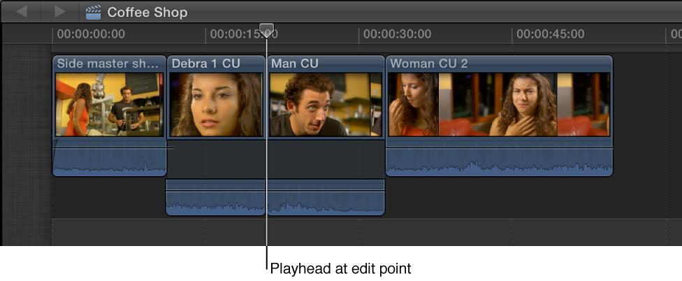 播放头放置到两个片段之间的编辑点上