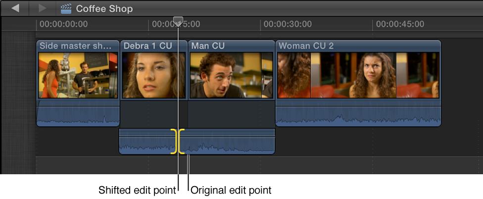 将显示的音频编辑点左移,来创建拆分编辑
