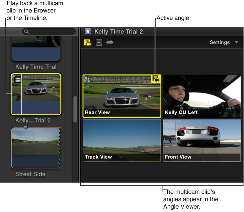 显示浏览器中所选多机位片段角度的角度检视器