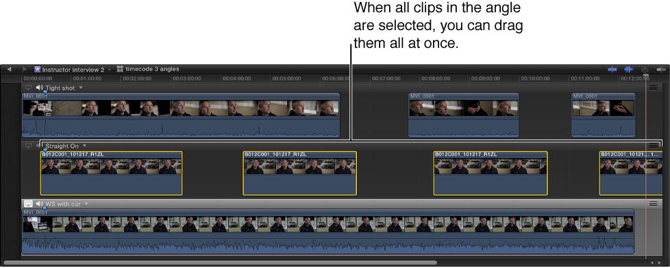 角度编辑器,显示了所有选定片段的角度