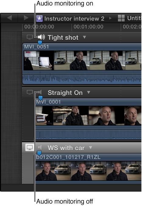 """角度编辑器中片段上的""""音频监视器""""图标"""
