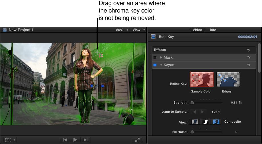 """在检视器中用于整理色度抠像的""""样本颜色""""工具"""