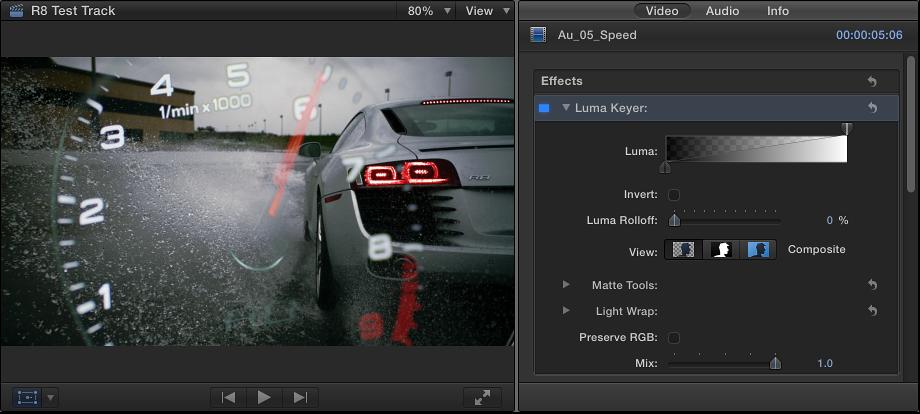"""显示亮度抠像效果的检视器和""""视频""""检查器"""