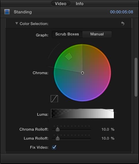 """""""视频""""检查器中的""""颜色选择""""控制"""