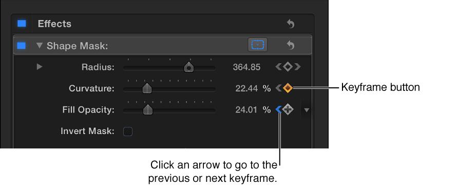 """""""视频""""检查器的""""形状遮罩""""部分中的""""关键帧""""控制"""
