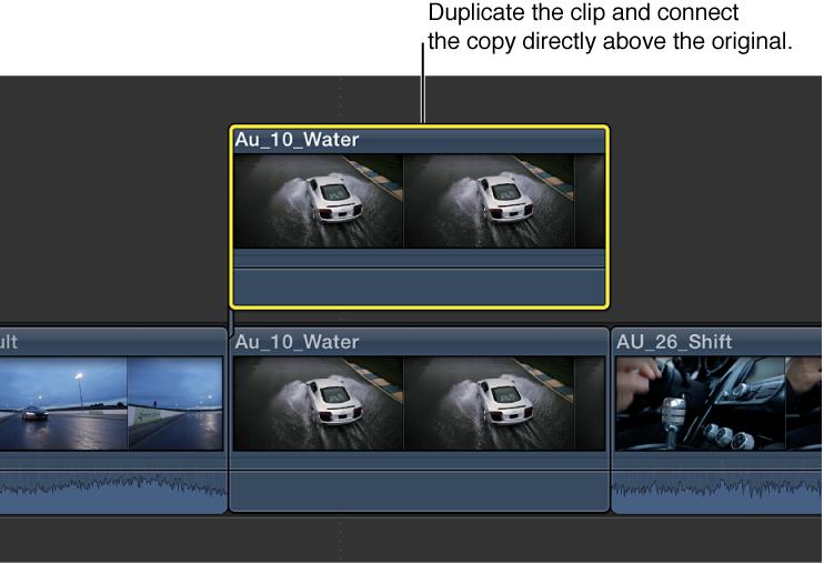 显示原始片段和复制片段的时间线