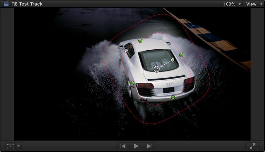 显示围绕遮罩外部的任何内容均变暗的汽车图像的形状遮罩的检视器
