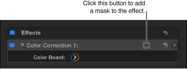 """显示色彩校正和""""应用效果遮罩""""按钮的""""效果""""列表"""