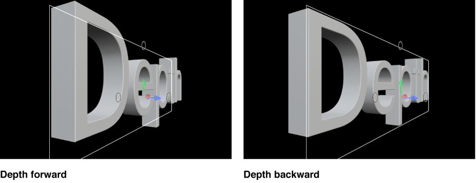 """检视器中显示设定为""""向前""""和""""向后""""的""""深度方向""""的 3D 字幕"""