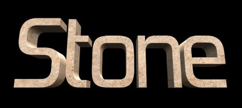 """检视器中应用了""""石材""""物质的 3D 文本"""