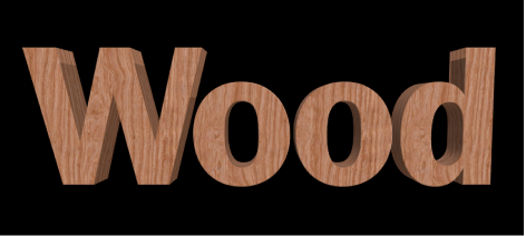 """检视器中应用了""""木材""""物质的 3D 文本"""