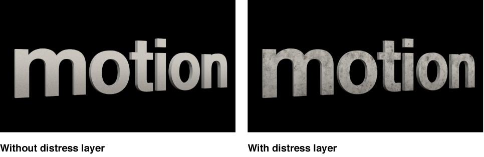 检视器中带和不带旧化层的 3D 字母