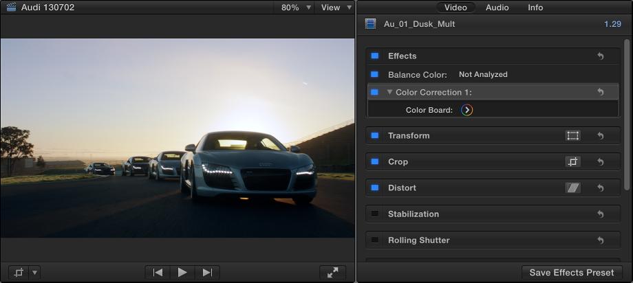 """显示应用了一个色彩校正效果的片段的检视器和""""视频""""检查器"""