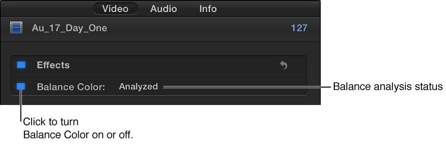 """显示打开/关闭控制和颜色平衡分析状态的""""视频""""检查器的""""颜色""""部分"""
