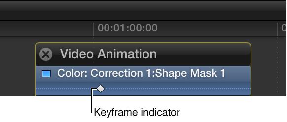 """显示""""颜色""""部分中关键帧的视频动画编辑器"""
